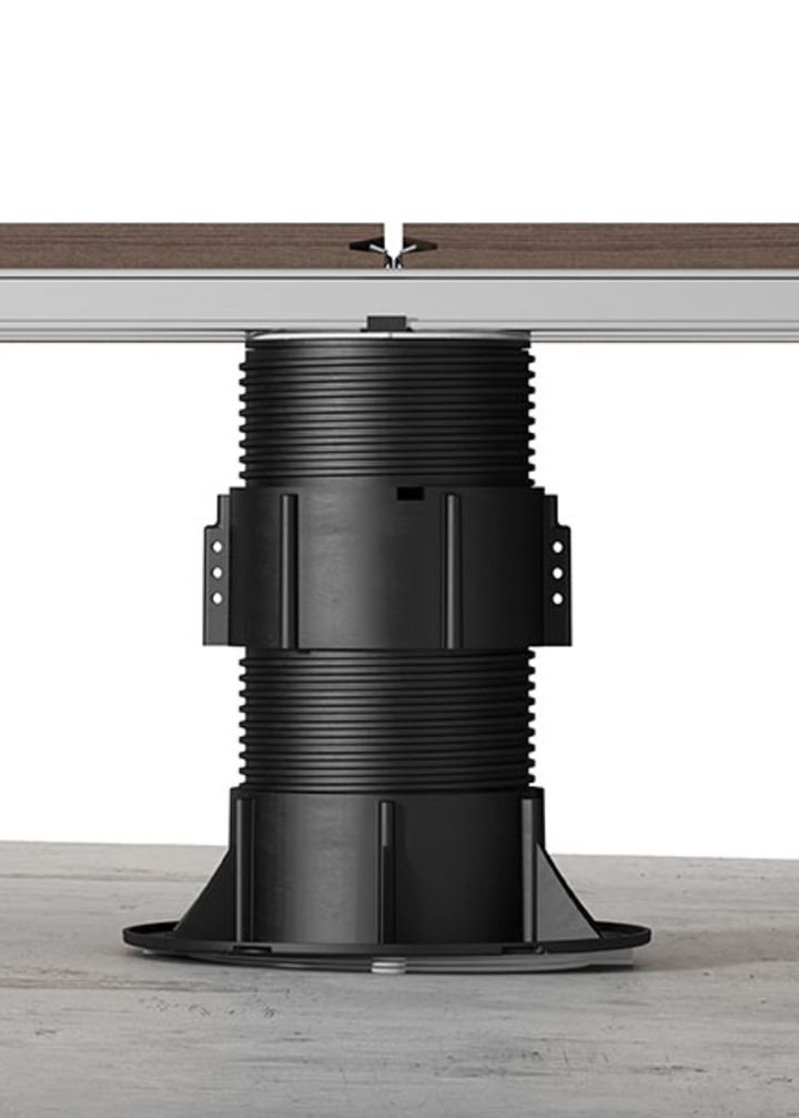 "Support System for raised floor ""NM"" with bi-component head for aluminium joist"